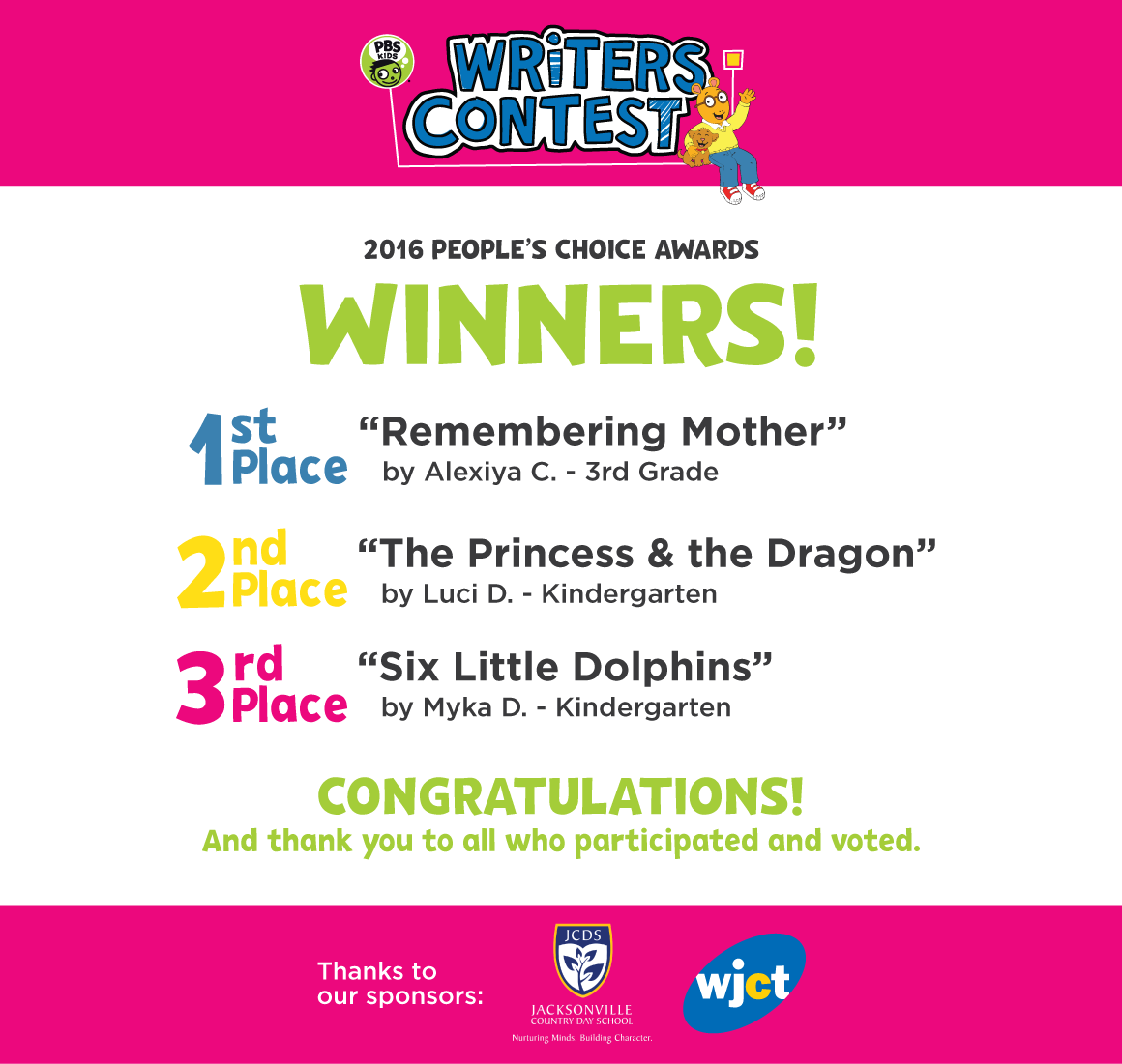 pbs kids writing contest It's time for idaho's 2017 pbs kids writers contest children in grades k-3 are  asked to write and illustrate their own stories and enter them into.
