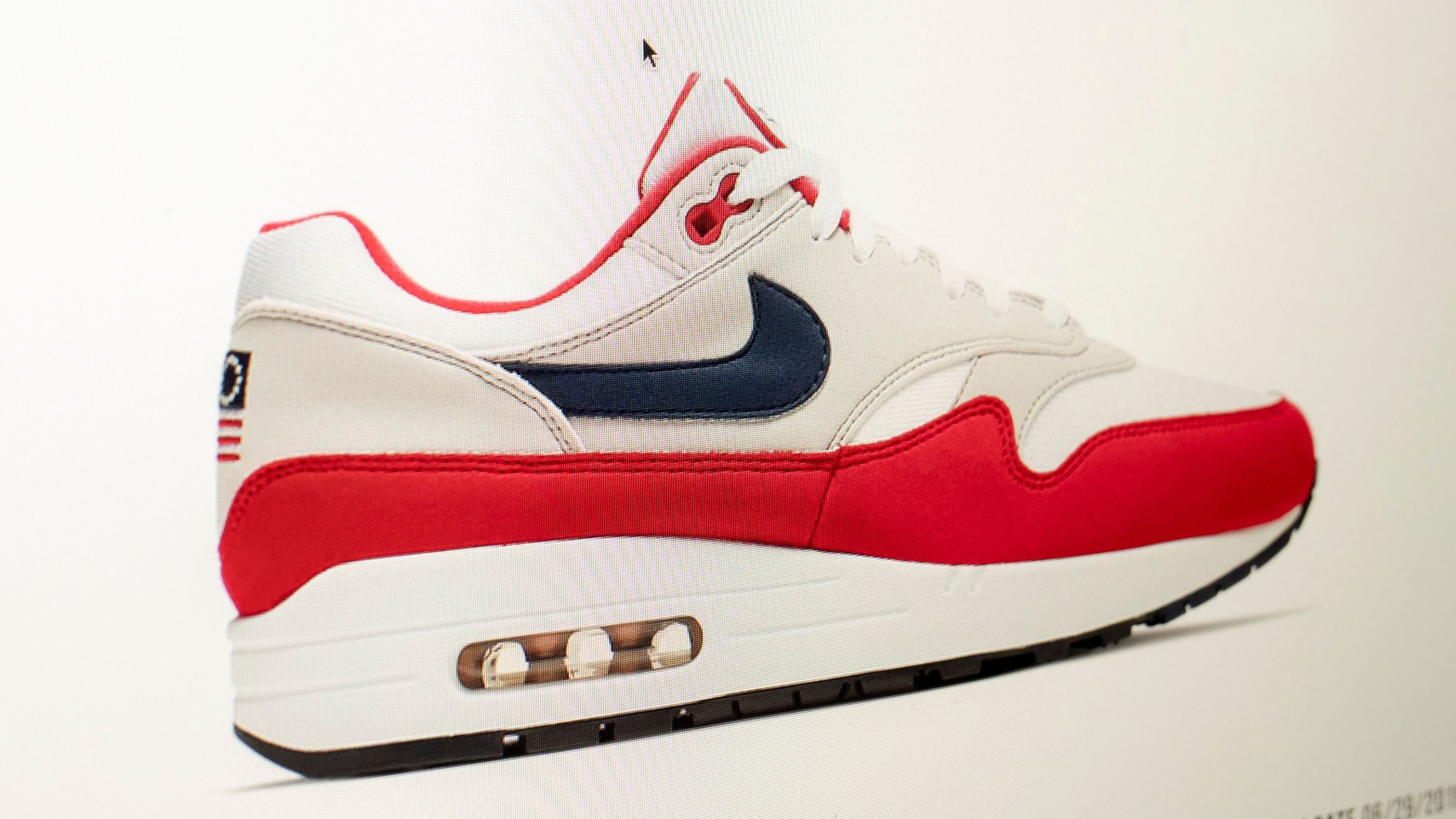 6940248d ... of its new July 4-themed Air Max 1 sneakers, over concerns about its  Betsy Ross flag logo. Prices for the shoes rocketed on the website StockX.com,  ...