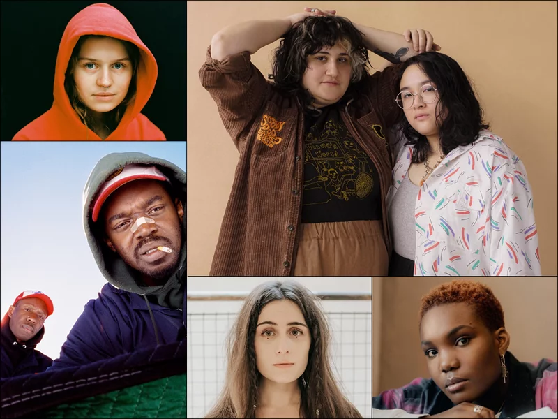 Photos of artists, clockwise from upper left: girl in red, Bachelor, Arlo Parks, dodie, Paris Texas